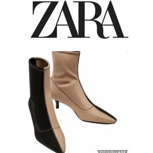 Zara Stretch Fabric Sock Style Ankle Boots SZ 7.5
